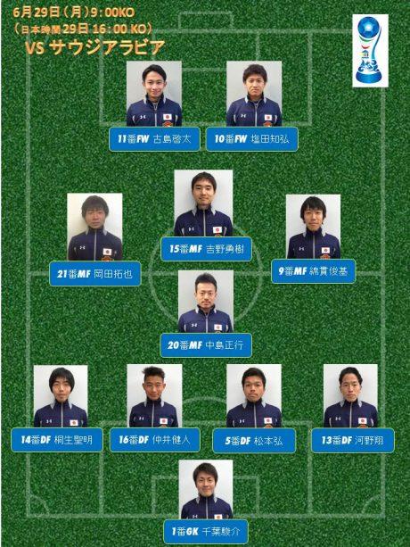 【サッカー】サウジアラビア戦スタメン -
